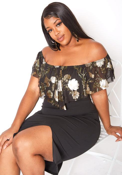 Asoph Plus Size Off Shoulder Floral Overlay Midi Dress
