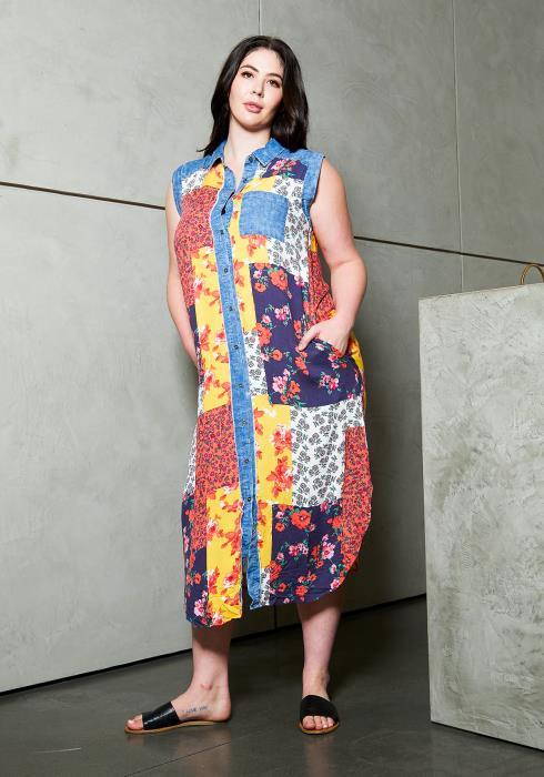 Asoph Plus Size Print Patched Sleeveles Shirt Dress