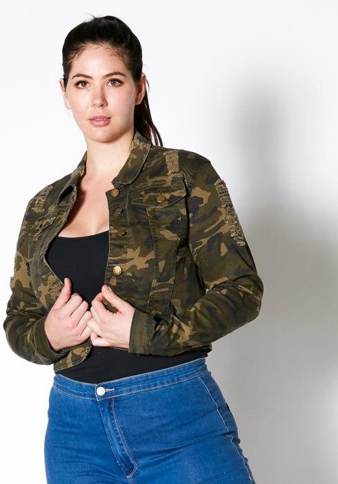 Asoph Plus Size Vintage Camo Cropped Denim Jacket