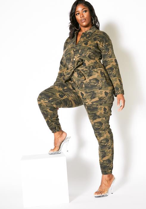 Asoph Plus Size Full Camouflage Women Jumpsuit