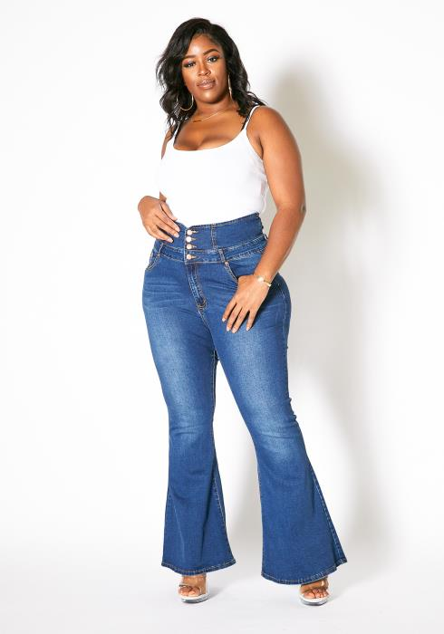 Asoph Plus Size Womens High Waisted Denim Flare Jeans