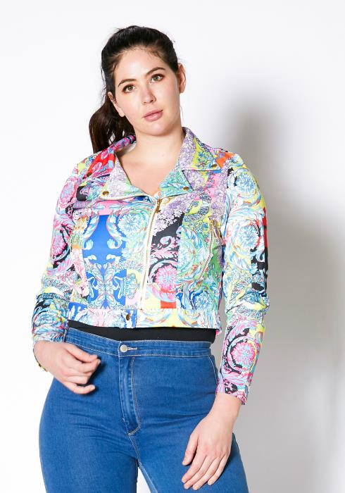 Asoph Plus Size Multi Royal Biker Jacket