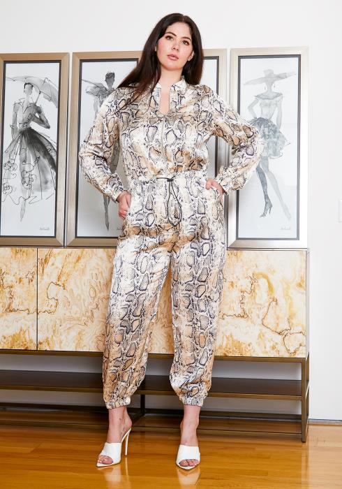 Asoph Plus Size Womens Satin Snake Print Zip Up Jumpsuit