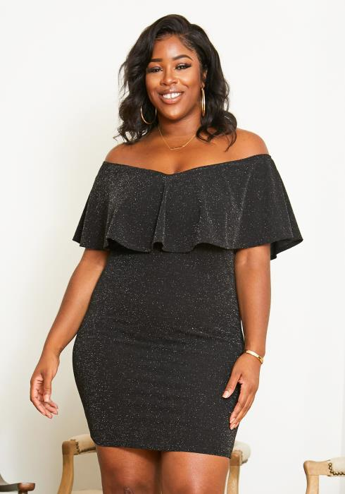 Asoph Plus Size Off Shoulder Night Sparkle Party Dress