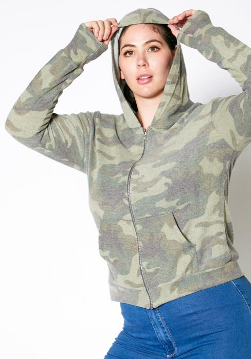 Asoph Plus Size Camo Print Zip Up Jacket