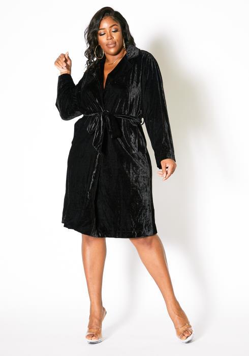 Asoph Plus Size Womens Black Velvet Collared Robe Dress