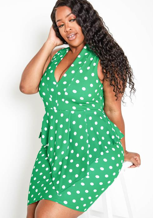 Asoph Plus Size Single Layered Polka Dot Sleeveless Women Dress
