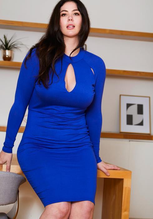 Asoph Plus Size Key Hole Party Dress