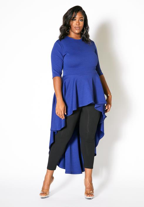 Asoph Plus Size Womens High Low Textured Peplum Top