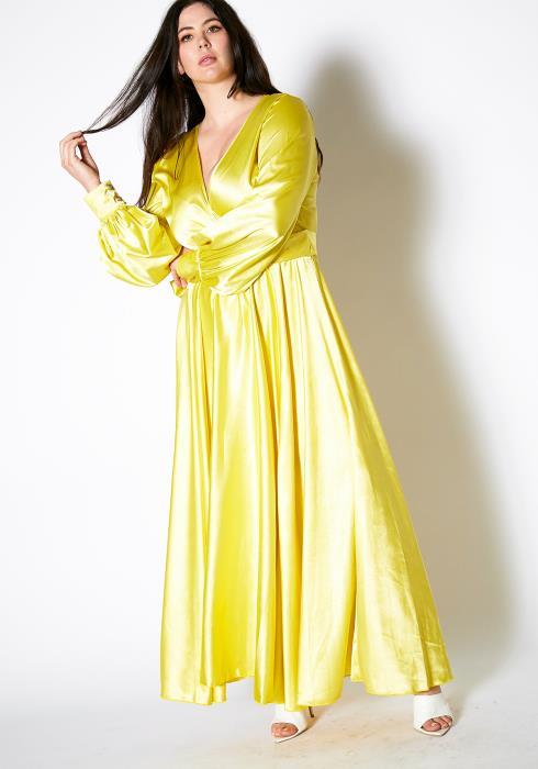 Asoph Plus Size Flash Yellow Maxi Dress