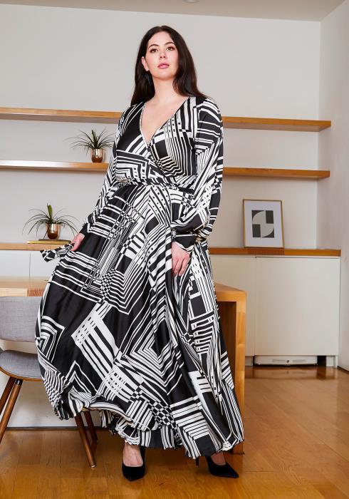 Asoph Plus Size Black Geo Print Maxi Dress