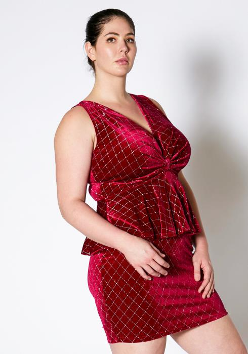 Asoph Plus Size Velvet Twist Peplum Dress