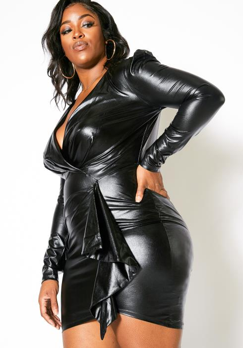 Asoph Plus Size PU Faux Leather Womens Ruched Bodycon Mini Dress