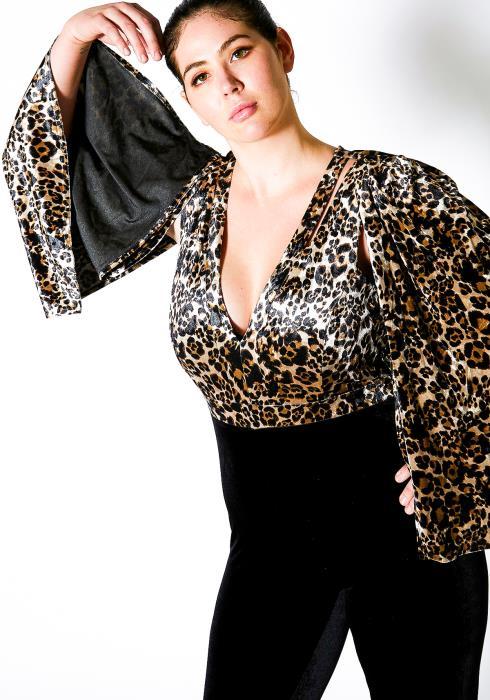 Asoph Plus Size Velvet Leopard Cape Jumpsuit