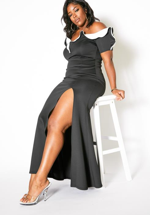 Asoph Plus Size Color Contrast Maxi Slit Hem Evening Dress