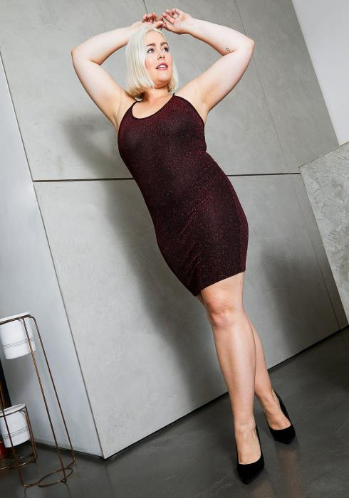 Asoph Plus Size Burgundy Shimmer Bodycon Dress
