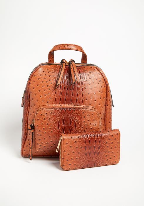 Asoph Camel Crocodile Backpack and Matching Wallet Set