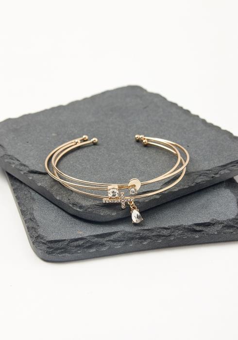 Golden Cross Cuff Bracelet Set