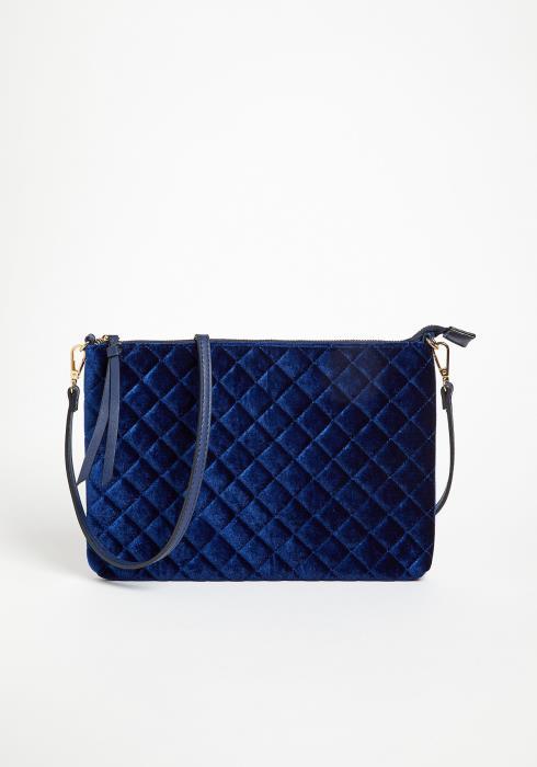 Asoph Indigo Velvet Quilted Clutch Bag