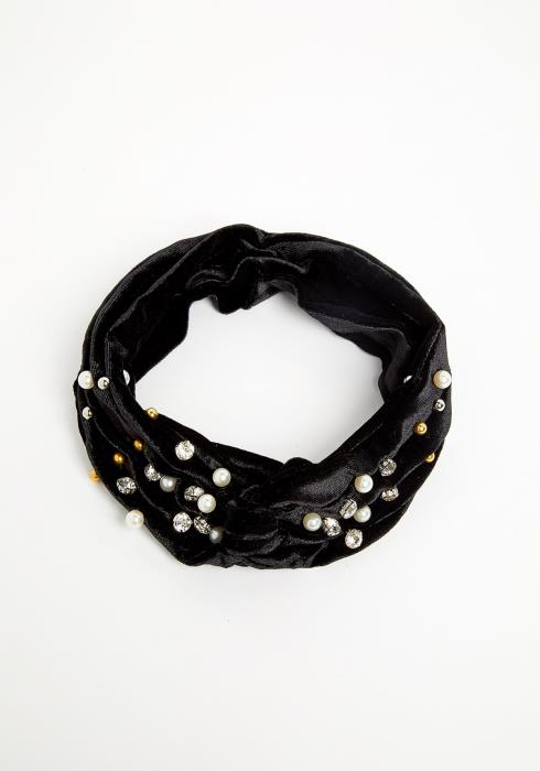 Pearl Cubic Studded Velvety Black Head Band