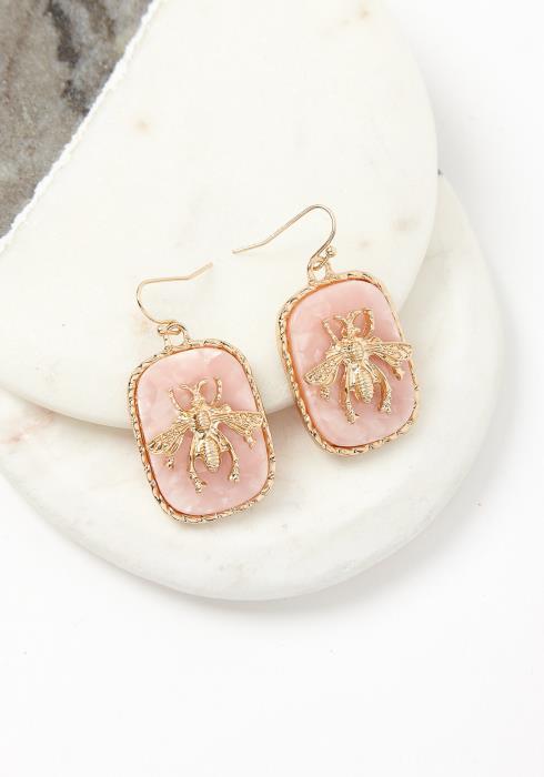 Golden Bee Stone Earrings