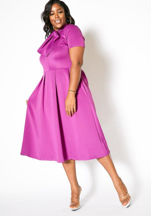 Asoph Plus Size Tie Neck 80s Fit Flare Midi Dress