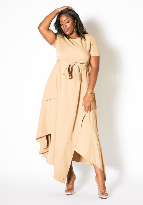 Asoph Plus Size Asymmetrical Hem Maxi Dress