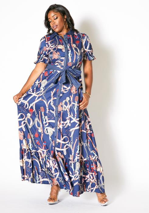 Asoph Plus Size Bejeweled Button Up Maxi Dress