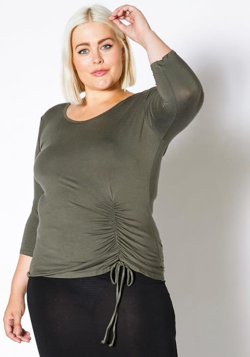 Asoph Plus Size Casual Drawstring Hem Women Top