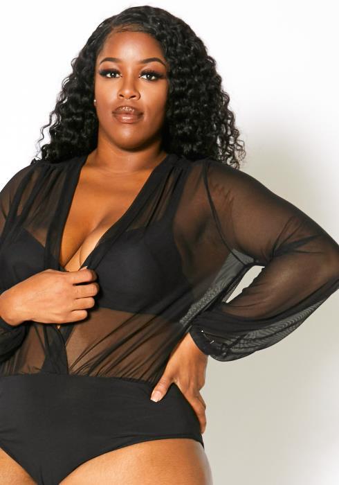 Asoph Plus Size Women Deep V Neck Sheer Long Sleeve Bodysuit