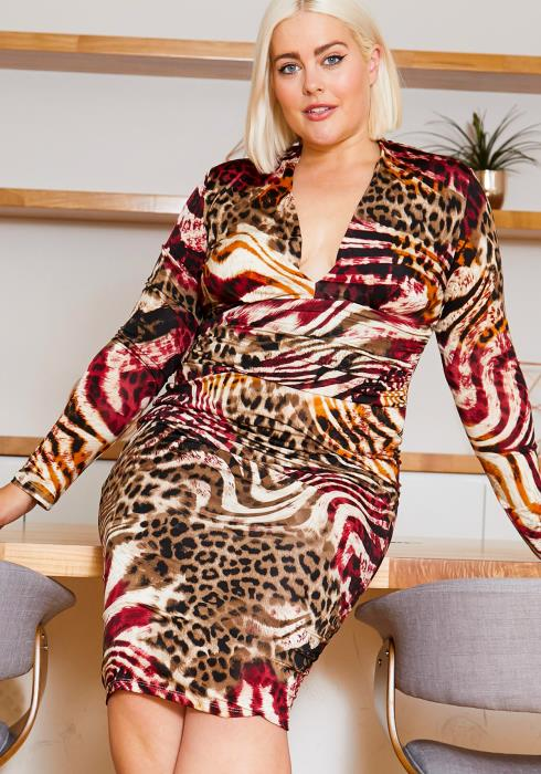 Asoph Plus Size Multi Animal Print Party Dress