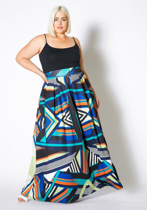 Asoph Plus Size Abstract Wonders Women Maxi Skirt