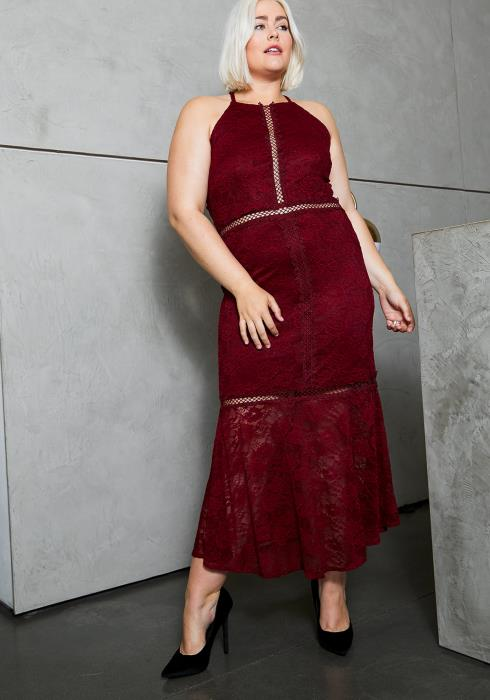 Asoph Plus Size Womens Rose Floral Lace Midi Dress