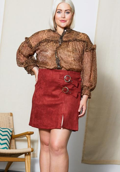 Asoph Plus Size Womens High Waisted Suede Mini Skirt