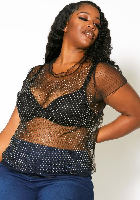 Asoph Plus Size Cubic Studded Sheer Mesh Top