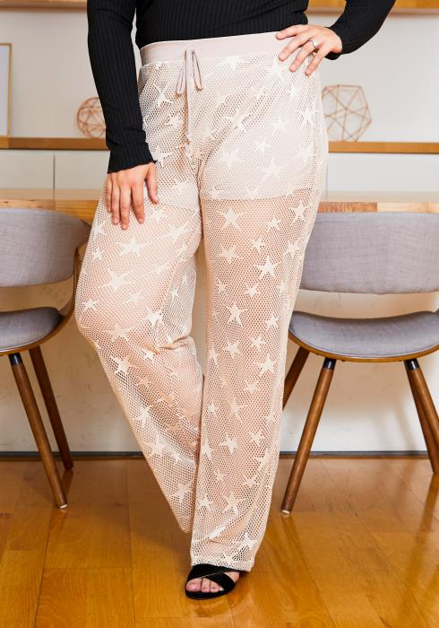Asoph Plus Size Star Struck See Through Women Fishnet Pants