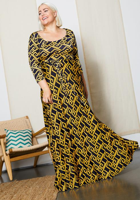 Asoph Plus Size Gold Geo Print Maxi Dress