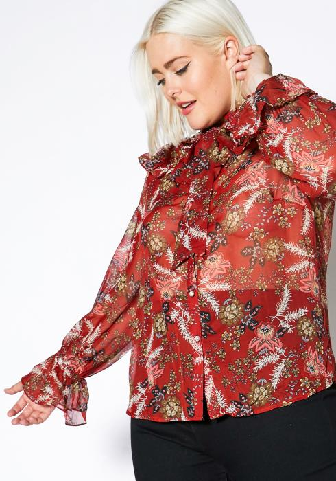 Asoph Plus Size Bow Collar Womens Floral Blouse