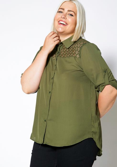 Asoph Plus Size Lace Button Up Shirt Blouse