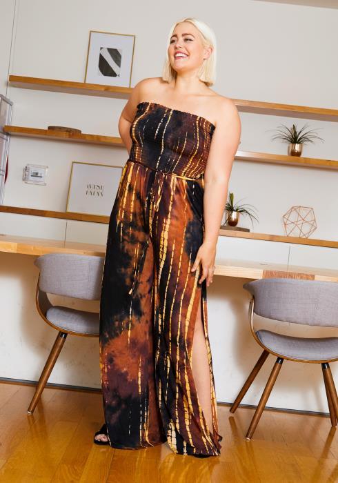 Asoph Curvy Womens Fire Tie Dye Tube Jumpsuit