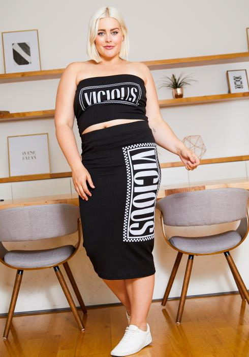 Asoph Plus Size Vicious Womens Tube Top and Midi Skirt Set
