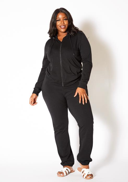 Asoph Plus Size Womens Hoodie Sweater and Matching Joggers Set