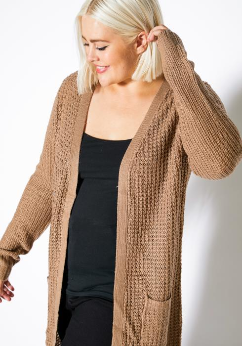 Asoph Plus Size Thermal Knit Womens Open Front Long Cardigan
