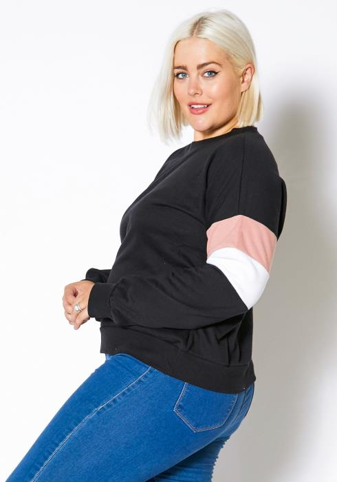 Asoph Curvy Womens Color Block Elbow Sweater Top