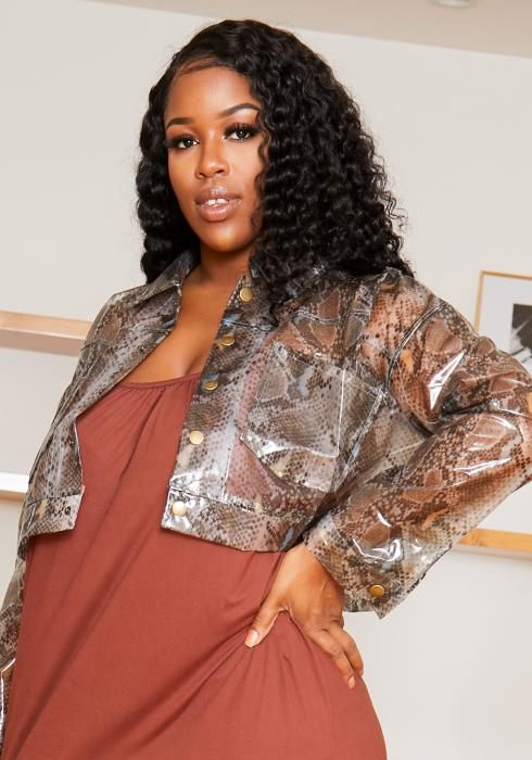 Asoph Plus Size Womens Vinyl Snakeskin Crop Jacket