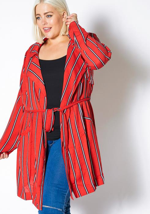 Asoph Plus Size Womens Striped Open Front Notched Collar Duster