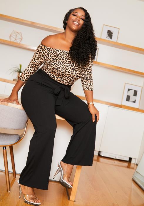 Asoph Plus Size Womens Cheetah Contrast Jumpsuit