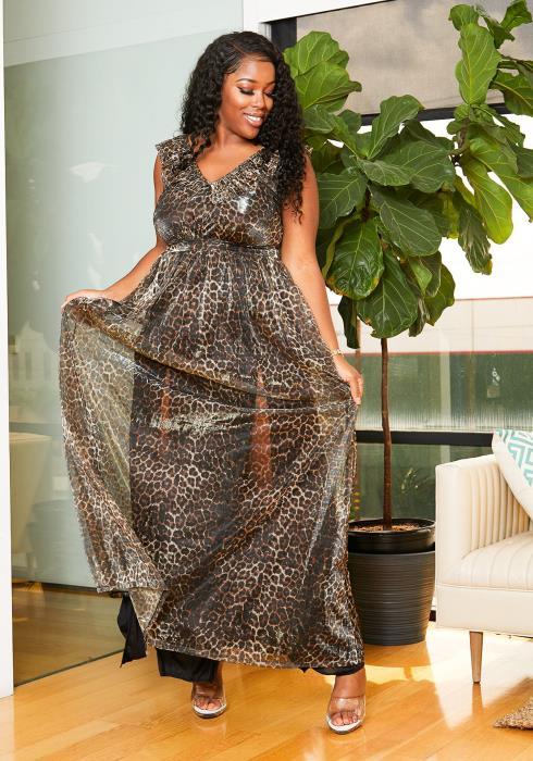 Asoph Plus Size Sheer Metallic Leopard Print Womens Maxi Dress