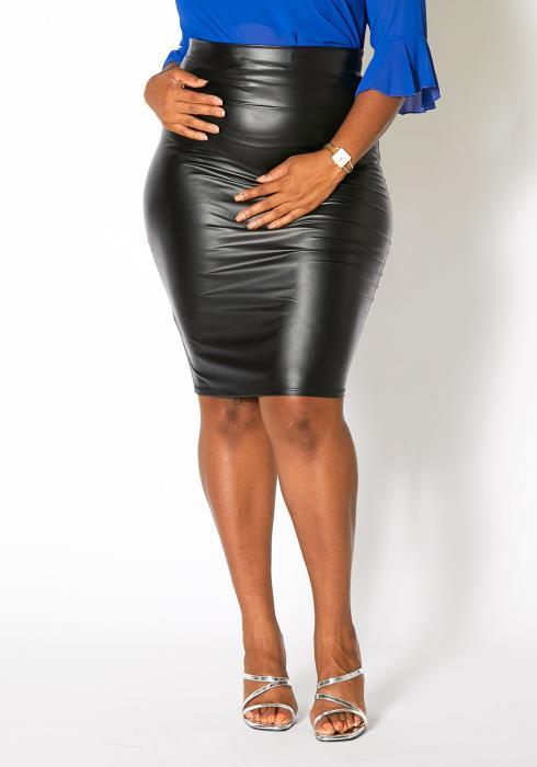 Asoph Plus Size Faux Leather Pencil Midi Skirt