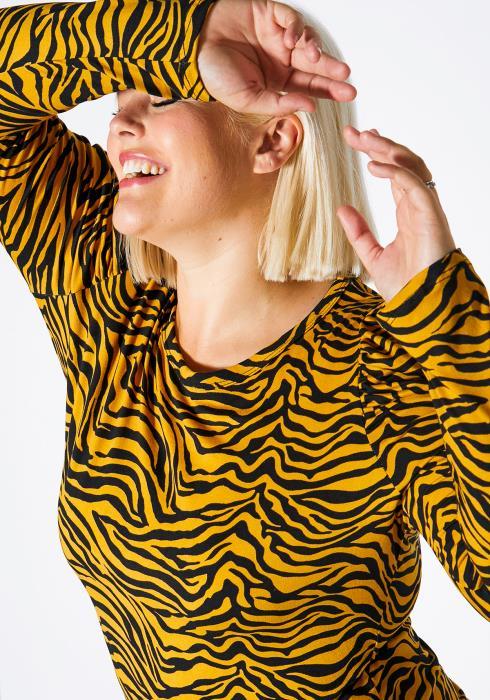 Asoph Plus Size Zebra Printed Puff Shoulder Top